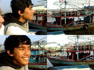 Zaki dan kapal-kapal nelayan di Muara Angke.