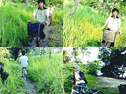 Bersepeda menuju ujung Barat Pulau Tidung.